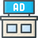 ad, advertising, building, marketing, on icon