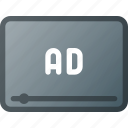 ad, advertising, marketing, online, video icon