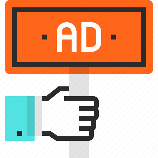 ad, advertisement, advertising, board, hand, marketing, promotion icon