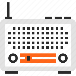 broadcast, communication, electronics, music, radio, receiver, retro icon