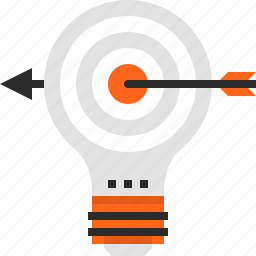 bulb, goal, idea, light, marketing, success, target icon