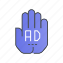 ad, advertisement, advertising, block, stop icon