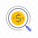 business, dollar, investment, magnifier, search icon