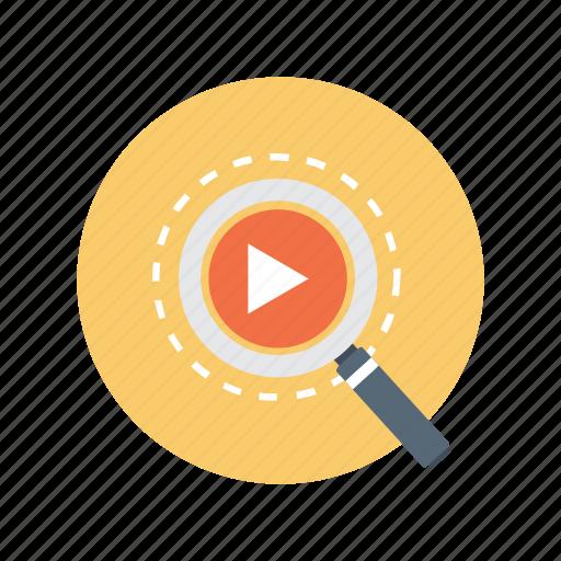 find, media, multimedia, search, video, zoom icon
