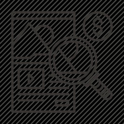 analysis, internet, landing, marketing, page, sales, web icon