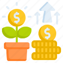 coin, currency, dollar, growth money, plant icon
