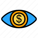 eye, view, vision, see, look, money, coin