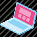 computer, design, interface, laptop, screen, web, website icon