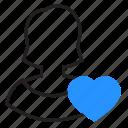 female, heart, like, user