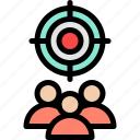 market, marketing, people, target icon