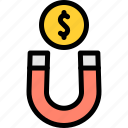 coin, magnet, marketing, money icon