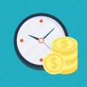 business, coins, get money, money, payment, profit, time icon