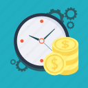 business, cash, coins, money, profit, settings, time icon