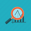 analytics, bar graph, business, magnifying glass, marketing, profit, statistics icon