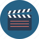 cinema, clapper, clapperboard, film, movie, movie player, play icon