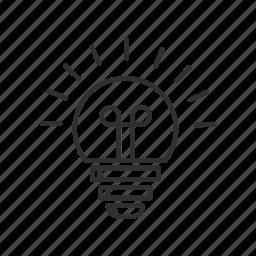 good idea, idea, light, light bulb, light on, lightbulb, regular light icon