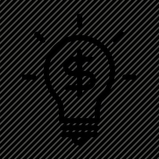 idea, lamp, light, money, thought icon