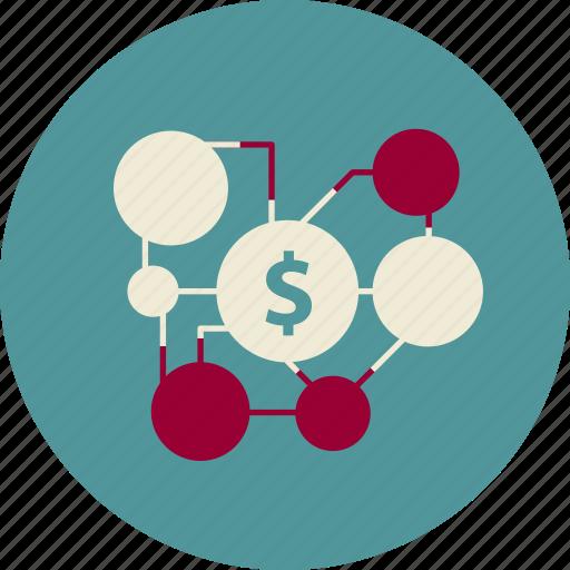 affiliate, commerce, dollar, marketing, spread icon