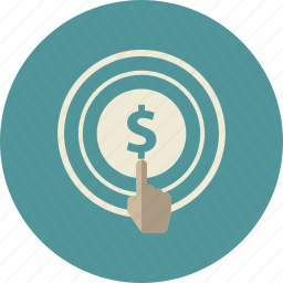 click, commerce, dollar, finger, hand, technology, touchscreen icon