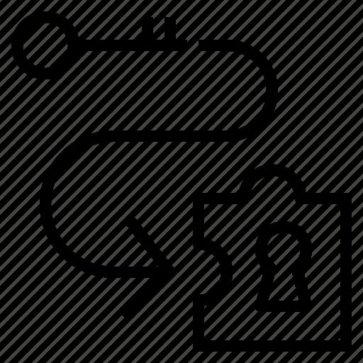 key, procedure, process, solve, step icon