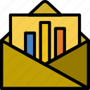 business, finance, graph, mail, marketing icon