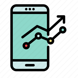 analytics, chart, device, graph, marketing, mobile, phone icon
