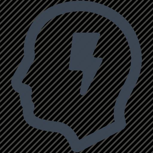 brainstorming, business idea, creativity, efficiency, head, idea, thinking icon