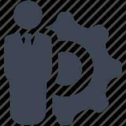 avatar, businessman, cog, gear, man icon
