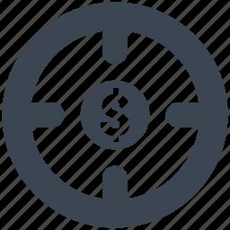 aim, dollar, goal, investment, money, profit, target icon