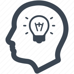 creative, head, idea, light, light bulb, solution, thinking icon