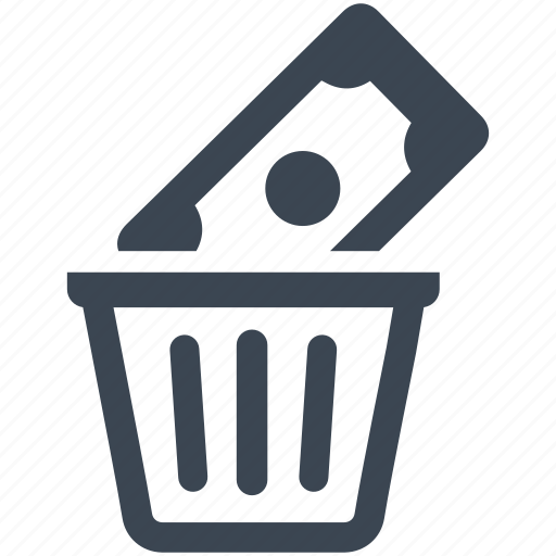 bin, capital, debt, money, recycle, risk analysis, trash, waste, wealth icon