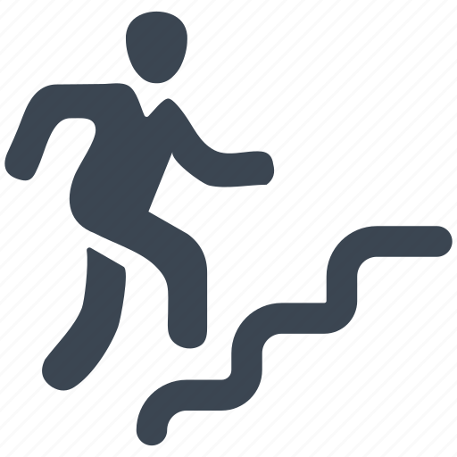 business, businessman, climbing, man, running, stairs icon