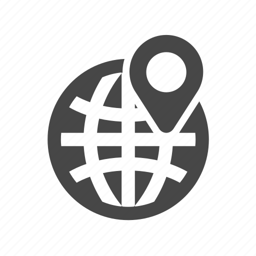 cargo, delivery, globe, marker icon