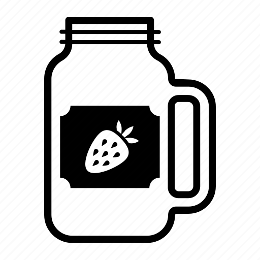 container, drink, glass, jar, mason, sticker, strawberry icon