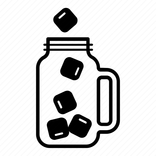 container, drink, glass, ice cubes, jar, mason icon