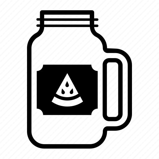 container, drink, glass, jar, mason, sticker, watermelon icon