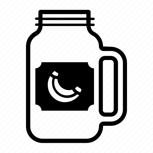 banana, container, drink, glass, jar, mason, sticker icon