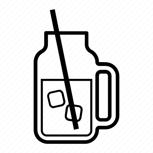 container, drink, glass, ice cubes, jar, mason, straw icon