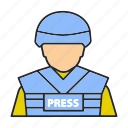 correspondent, journalist, mass media, military, news, reporter, war icon