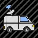 broadcasting, news, satellite, truck, tv, van, vehicle icon