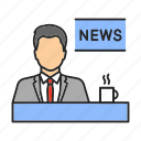 broadcasting, mass media, morning, news, newscast, newscaster, tv icon