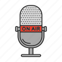 broadcasting, live, media, microphone, on air, podcast, radio icon