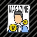 journal, magazine, mass media, newspaper, periodical, press, tabloid icon