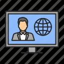 mass media, news, newscast, newscaster, television, tv, tv set icon