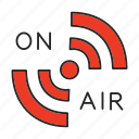 broadcast, live, media, on air, podcast, radio, signal icon
