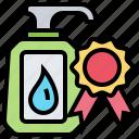 award, bottle, cream, medal, product