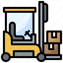 boxes, fork, forklift, industrial, vehicle icon