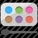 eye makeup, eye shadows palette, makeup palette, salon accessory, shades kit icon
