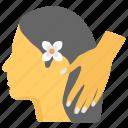 hair care, hair massage, hair spa, hair wash, hairs treatment icon