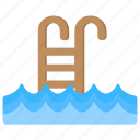 pool ladder, pool stairs, swimming pool, swimming pool water waves, wood ladder icon
